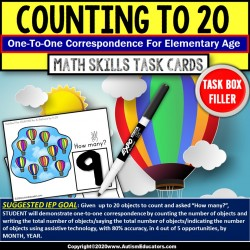 ONE-TO-ONE CORRESPONDENCE Counting HOT AIR BALLOONS Task Cards |Task Box Filler|